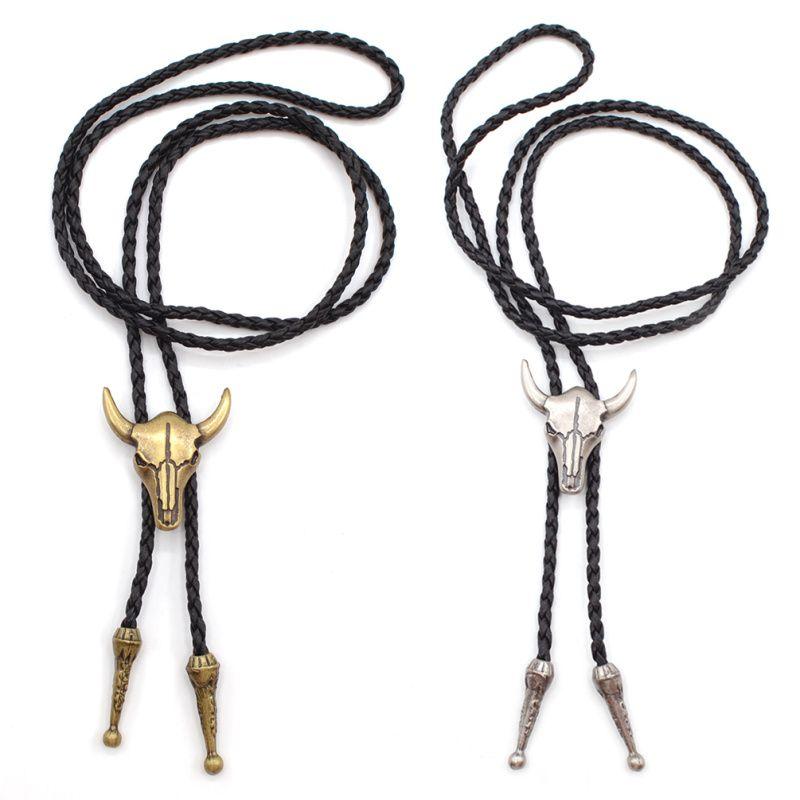 فاسق القوطية نمط المعادن الثور رئيس بولو التعادل الغربية رعاة البقر الجلود الاصطناعية ربطة العنق بولا