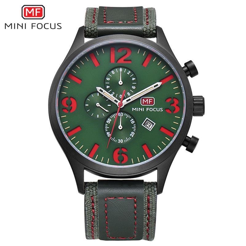 Мини-фокус новое прибытие человек мода бизнес водонепроницаемый хронограф контракт PU ремешок кварцевые часы мужчины Relogio Masculino часы