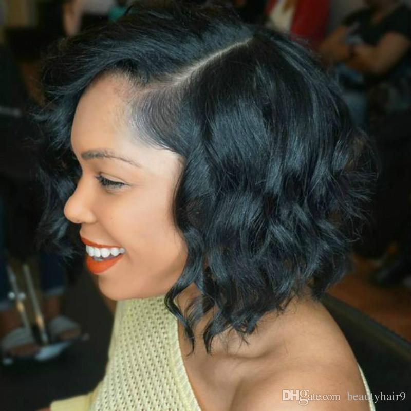 Büyük stokta Yeni Moda kısa bob Kıvırcık siyah renk Peruk Simülasyon İnsan Saç kısa kıvırcık tam peruk