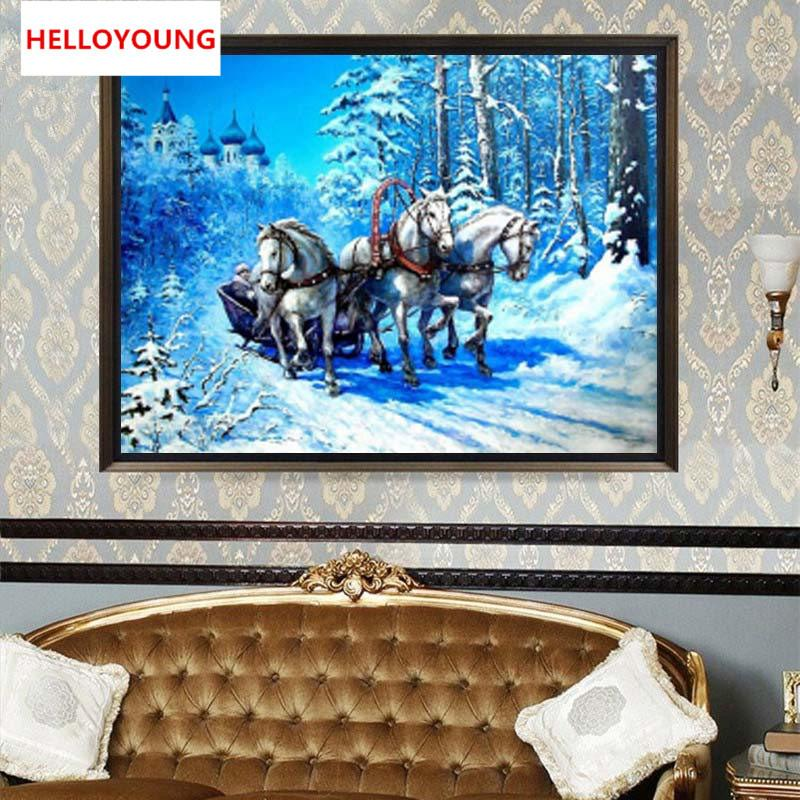 DIY 5D Full Diamond Embroidery Ice and snow world Round Diamond Painting Cross