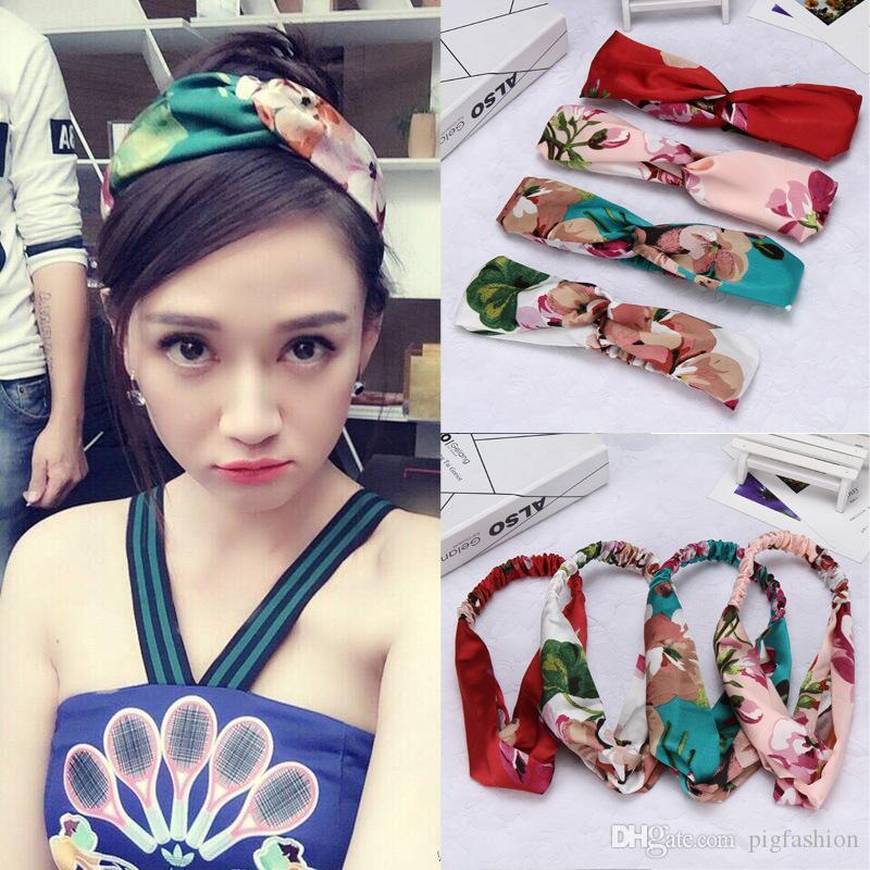 Kore Çapraz Saç Kemer Chenjon Sardunya Ipek Şapkalar Gevşek Düğüm Saç Aksesuarları Çiçek Patchwork Elastik Saç Bandı
