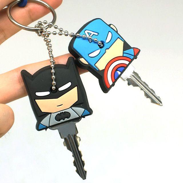 2018 New Anime Cartoon Keychain Women Bag Car Accessory Cute kitty Garfield Mario 4cm Silicone Key Cover Key Ring Holder
