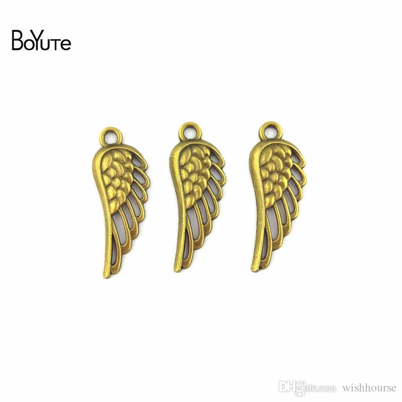 BoYuTe (50 Pieces/Lot) 12*33MM Wholesale Antique Bronze Plated Zinc Alloy Angel Wing Pendant Charms for Jewelry Making Diy Handmade