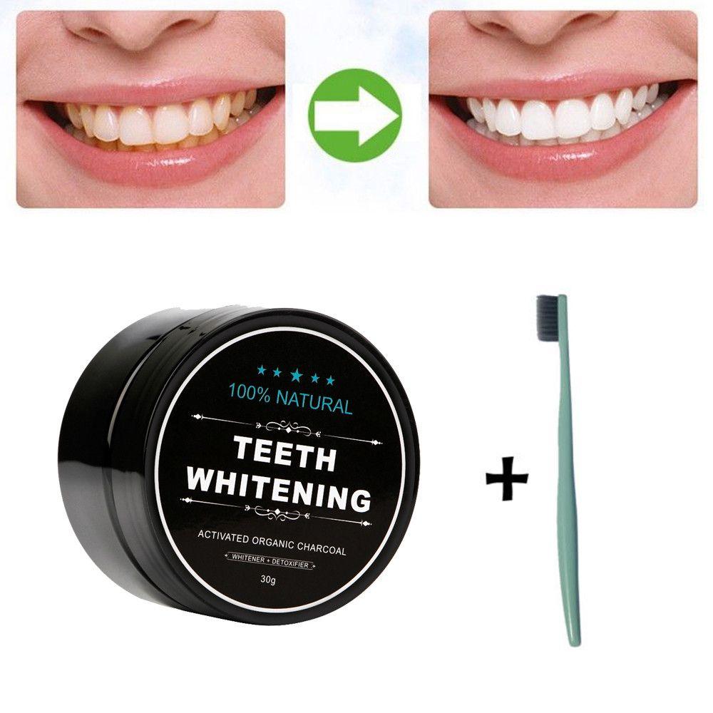 Higiene oral causa novo pó pó natural organico ativado carvão vegetal dentífrico ferramenta com escova de dentes