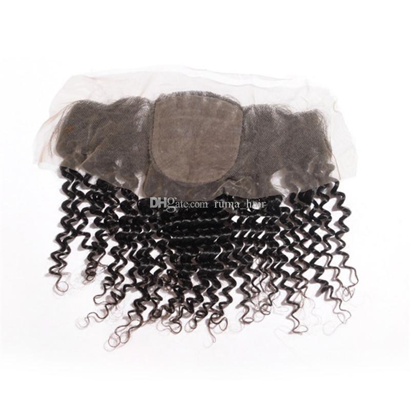 """Silk Base Lace Frontal with Hidden Knots Deep Wave 13x4"""" Peruvian Hair Closure with Baby Hair Deep Curly Wavy Frontal Closure"""