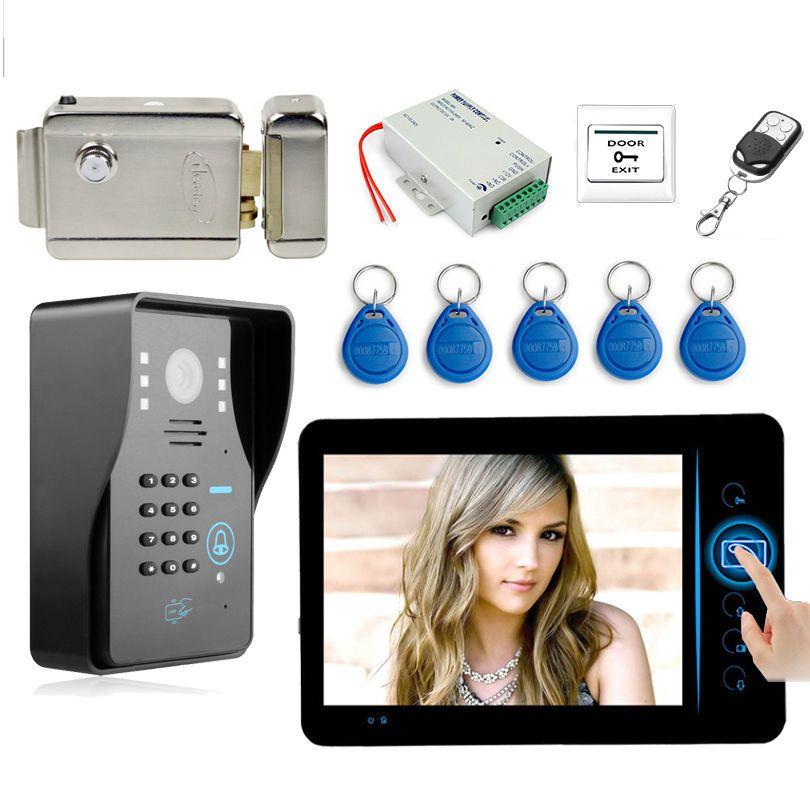 """7"""" Screen Wireless Video Door phone Doorbell Intercom Door Phone System + ID Keyfobs + Electric Lock+ Power Supply+ Door Exit"""
