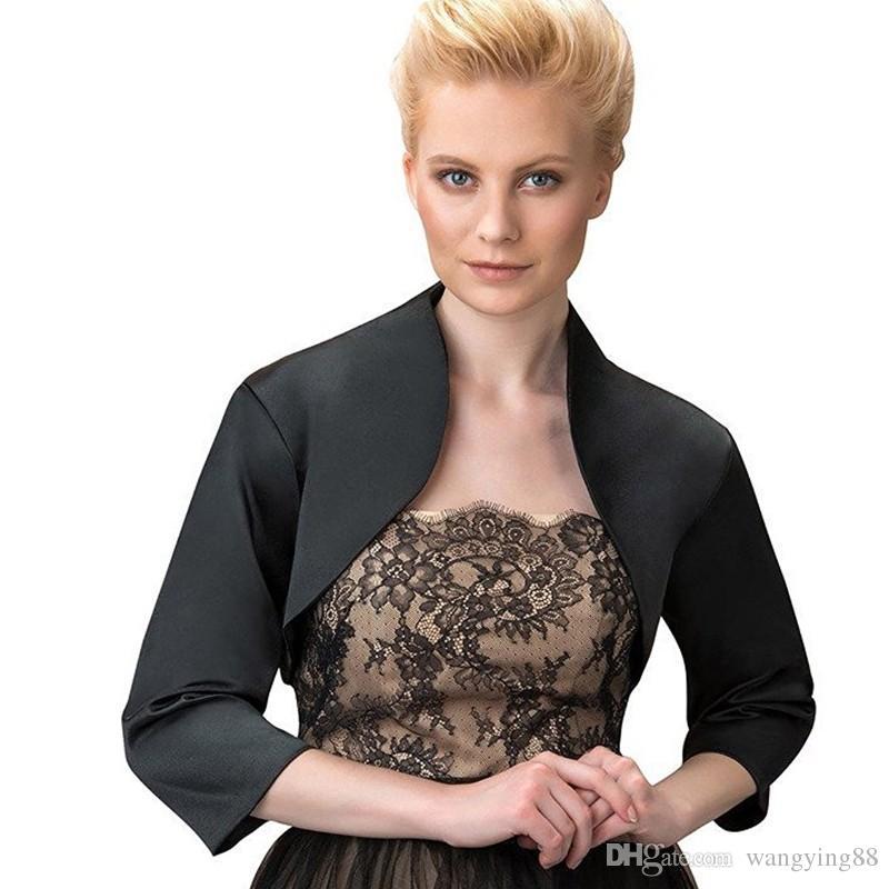 Custom Made Women Bridal Jacket with Sleeve High Quality Satin Wedding Bolero Jacket Wedding Accessories for Dress