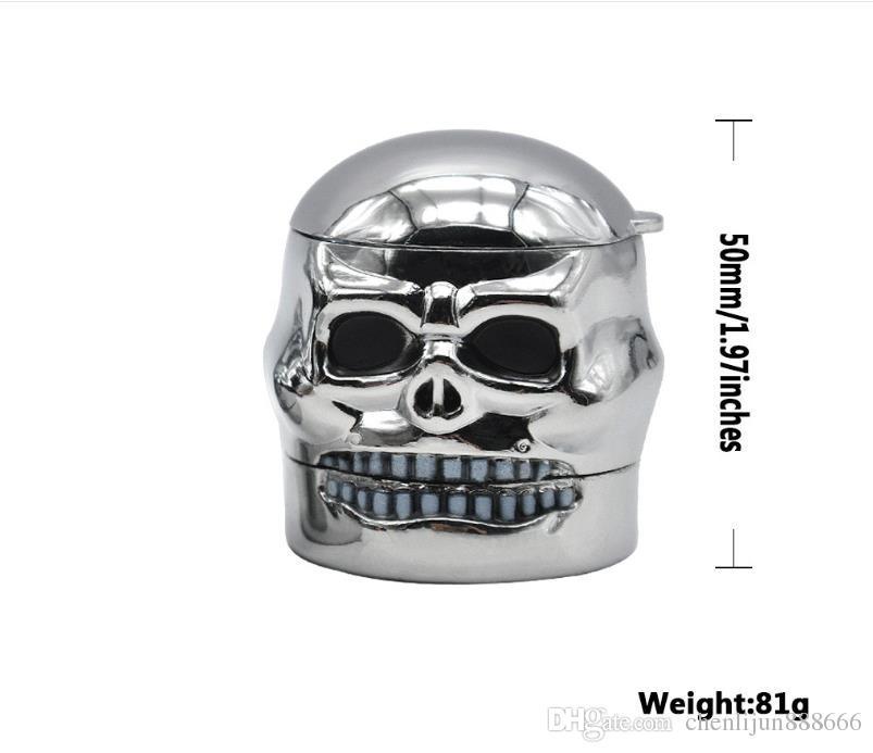 3 camadas de moedor de tabaco removível TOBACCO GRINDER Metal Skull. Moedor de tabaco de fumar