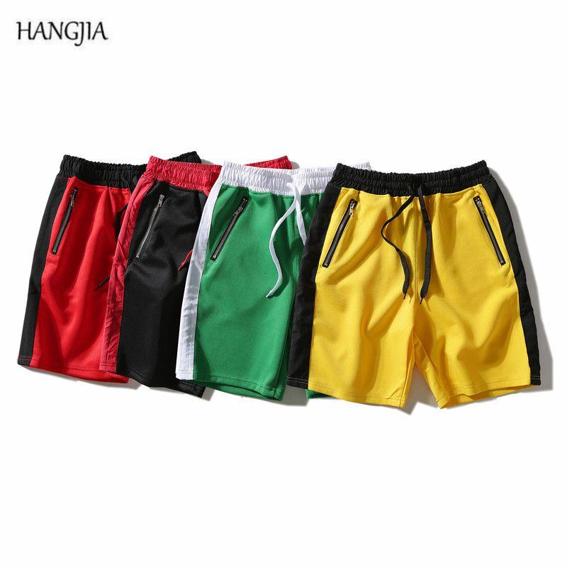 Мужские шорты [Hangjia] High Street Side Scipper Повседневная Хит Цвете Шить Летнее Свободное молодое Хип-Хмель Длина колена
