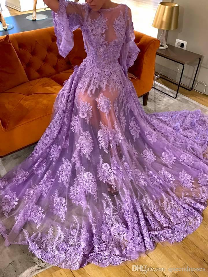 Sexy Lavender Lace Prom Dresses With Long Sleeve Evening Gowns Sheath Jewel Backless Floor Length Formal Women Special Occasion Dress Online Peach