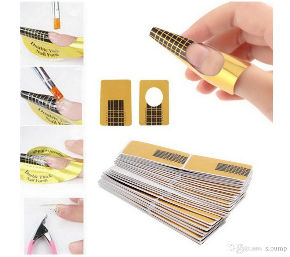 100pcs/lot Nail Art Extension Sticker Guide Form Acrylic Professional Nail Tools Gel Nail Polish Curl Tips For Women