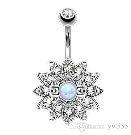 Fashion Dangle Bars Navel & Bell Button Rings Crystal Sun Flower Body Jewelry Navel Piercing Rings Wholesale