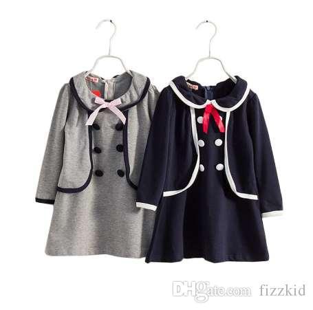 3 4 5 6 7 8 лет девушки одеваются Новая весна осень хлопок дети школьная одежда с длинным рукавом Детские платья для девочек