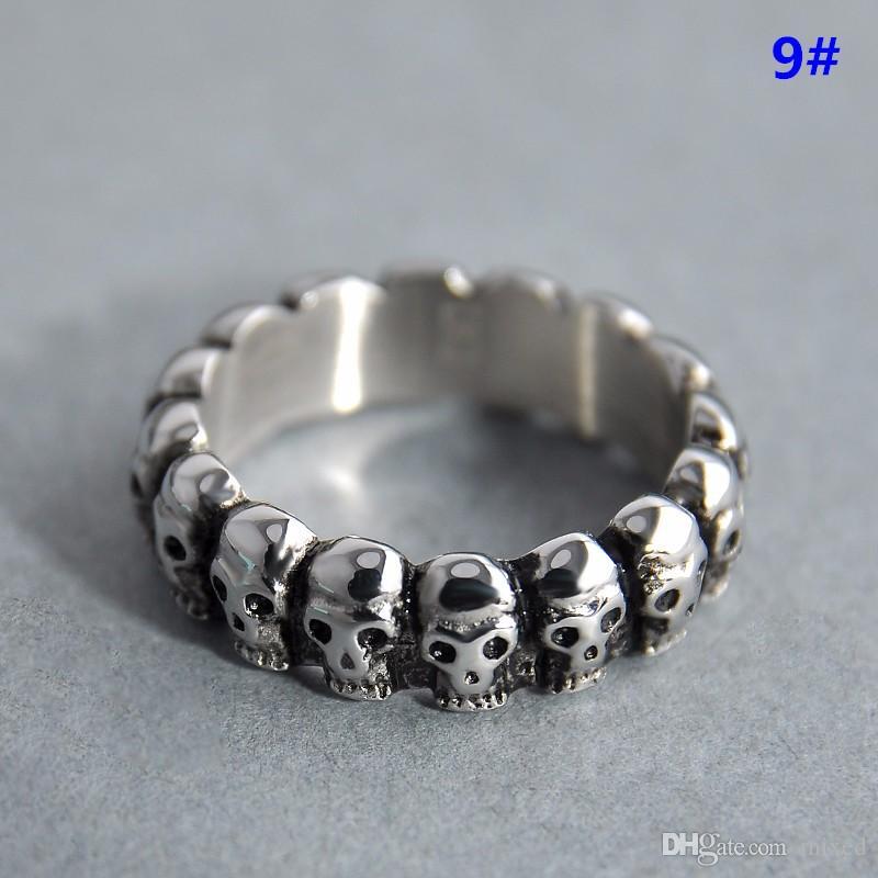 New Rings US Size 7-9 Gothic Lot Skull Vintage Biker Men's Black Punk Stainless Steel Ring Jewelry For Men Women Lovers