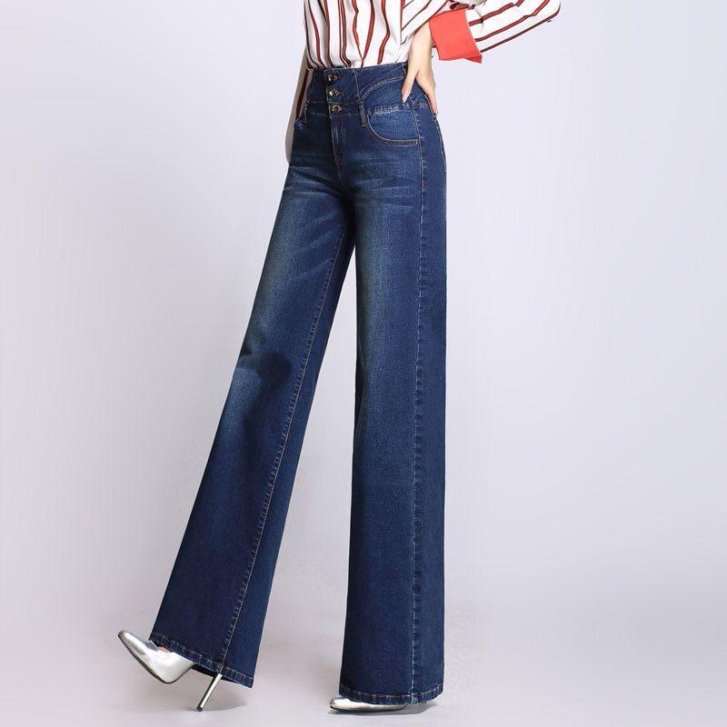 Acquista Pantaloni A Vita Alta Modello Jeans A Gamba Larga Pantaloni Donna Jeans Larghi Plus Size Pantaloni A Lunghezza Intera Pantaloni Casual Colori