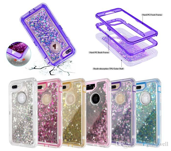 3 en 1 Glitter Liquid Quicksand Case Bling Crystal Robot Defender Fundas para iphone XS Max XS 8 6 Plus Samsung S7 S8 S9 S10e Plus Nota 9
