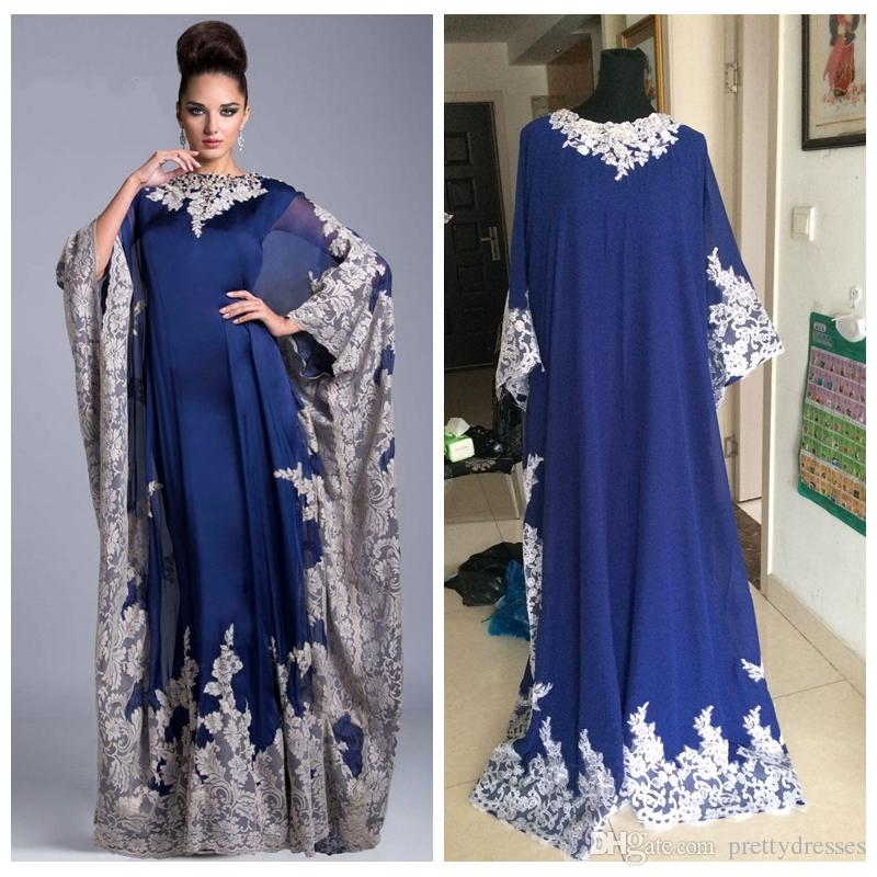 Custom Vintage Chiffon Arabic Kaftan Royal Blue Mother's Dresses Evening Prom Dresses 2018 Lace Appliques Dubai Formal Mother Of The Bride