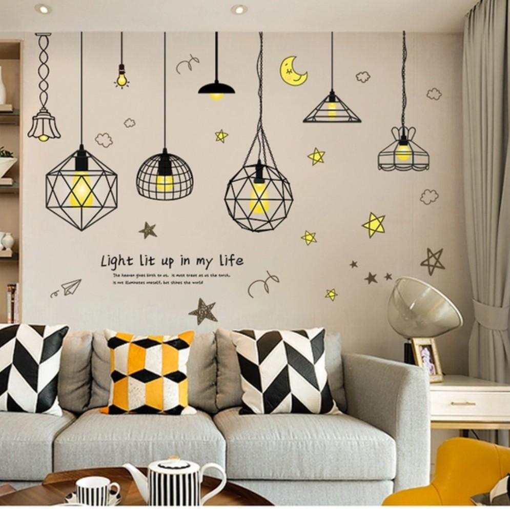 Compre Living Room Bedroom Sofe Background Wall Sticker Sticker ...