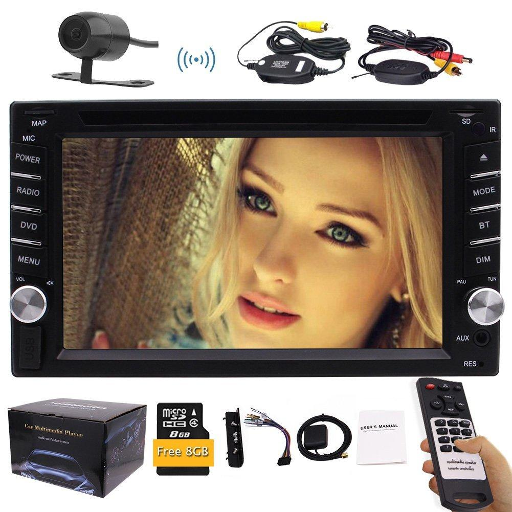 "Wireless Backup Camera+6.2"" Double Din Vehicle car DVD CD Player GPS Navi In Dash Stereo Radio Bluetooth USB+FREE 8G Map Card+Remote Control"