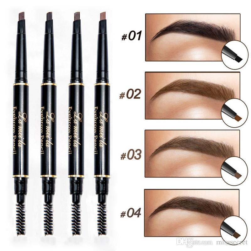 Professional Double-end Eyebrow Pencil Pen Eye Makeup Waterproof Long lasting Eyebrow Black Brown Natural Eye Brow Tint with Brush