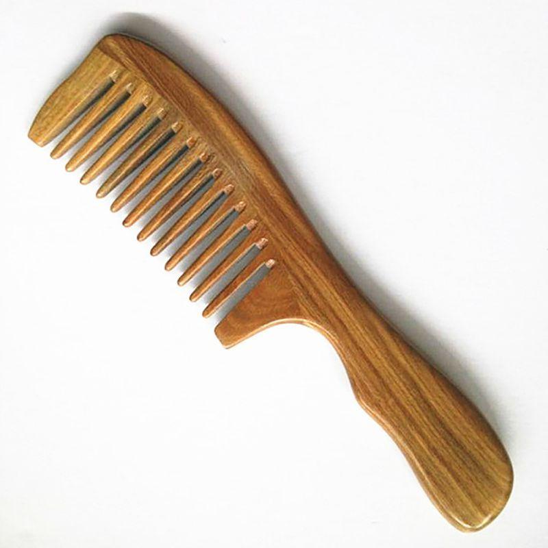 1 قطع اليدوية خشب الصندل واسعة الأسنان الخشب مشط الرأس الطبيعي مدلك أمشاط الشعر العناية بالشعر جديد