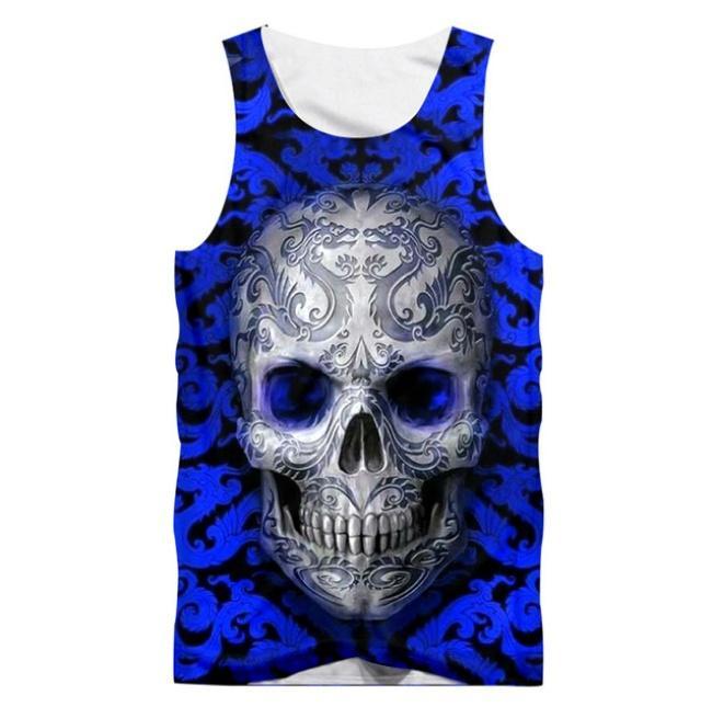 뜨거운 보디 빌딩 민소매 셔츠 소년 대형 탱크 탑 남자 O-neck 3d 해골 조끼 여름 의류 Streetwear Suppliers