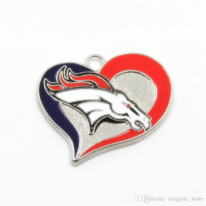 12pcs New Fashion Heart Enamel Football Team Logo Dangle Charms Fit DIY Bracelet&Necklace Pendant Jewelry