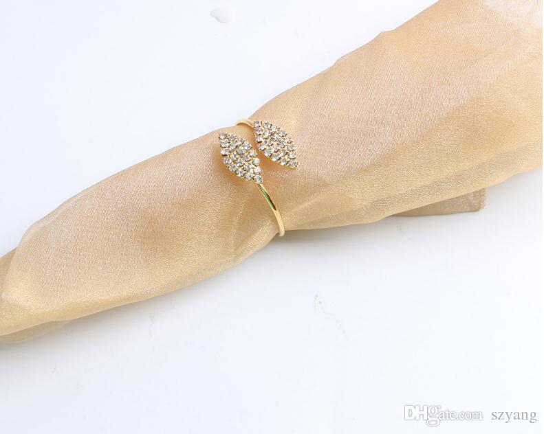 Popular New Bling Crystal Rhinestone Leaf Napkin Rings Metal Wedding Napkin Ring holder for Hotel Wedding Banquet Table Decoration SN1775