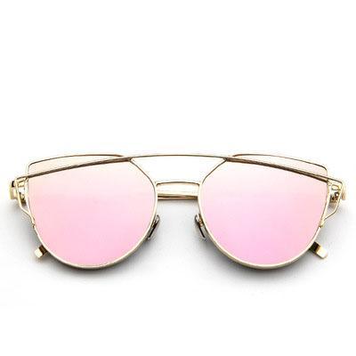 vintage Brand rose gold mirror Sunglasses For Women Metal Reflective flat lens Sun Glasses Female oculos