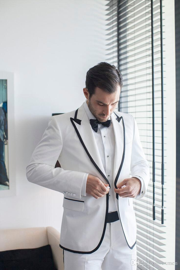 2018 Classic White Custom Made Men Suit Wedding 2 Piece Jacket+Pants Men Blazer Formal Groom Wear Groomsmen Tuxedos Black Edge Peaked Laple