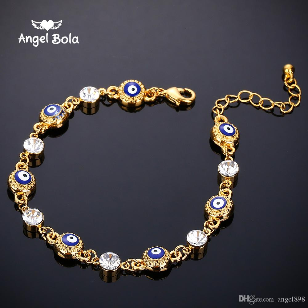 Hot Middle Eastern Muslim Islamic halal diamond blue evil eye bracelet ladies men bracelet