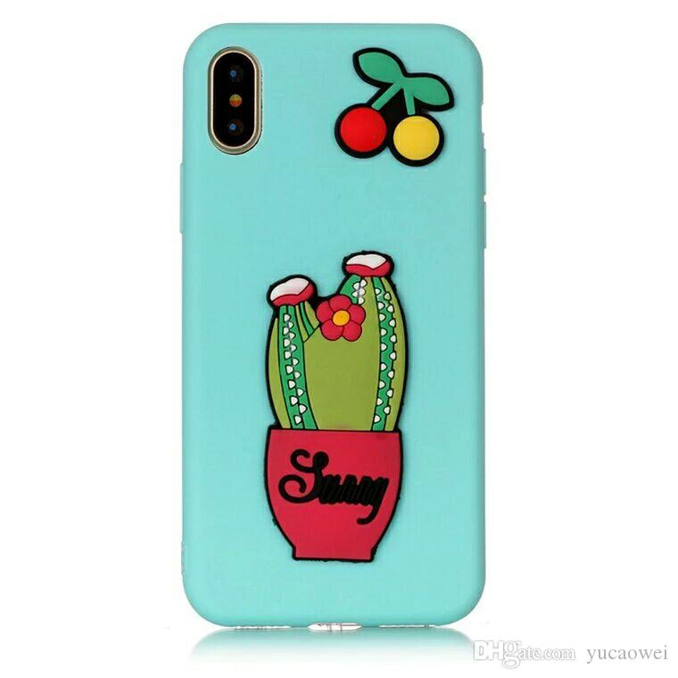 3D Cute Watermelon Cases for iPhone 7 Case Cactus Silicone Cartoon Rabbit Phone Back Cover for iPhone X 7Plus 8 6 6s Plus