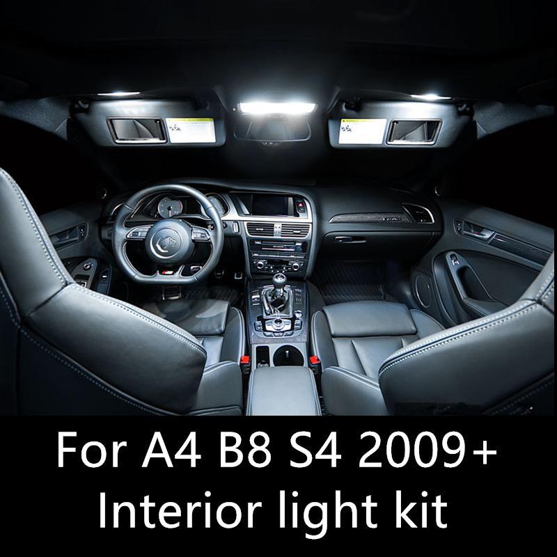 Ücretsiz Oto Led Ampüller Otomobil için LED İç Işık Kiti Kubbe Lambası için AUDI A4 B8 S4 donatıları 2009-2015 iç Hata Shinman14pcs