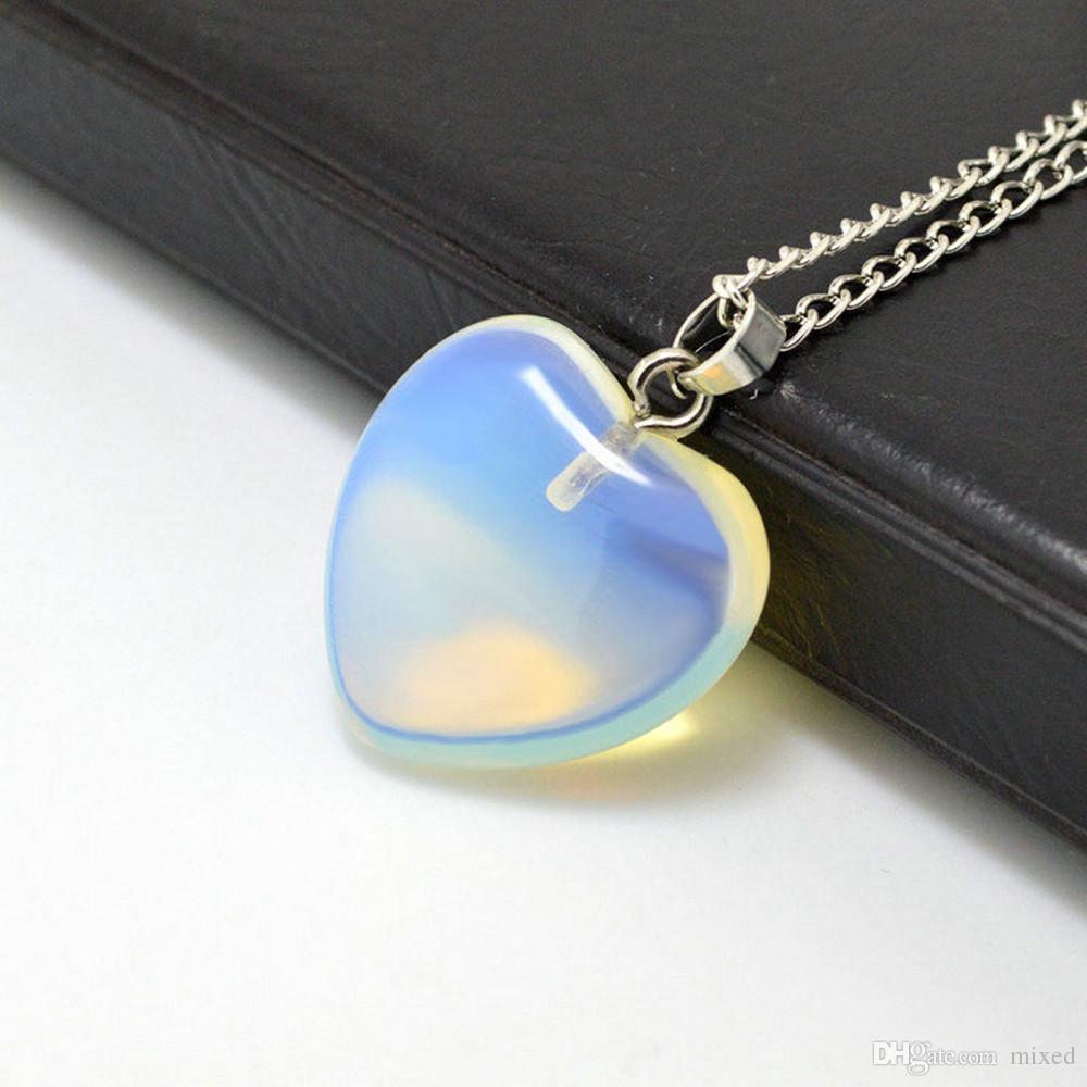 Heart Gemstone Rock Natural Stone Quartz Healing Point Chakra Pendant Necklace T