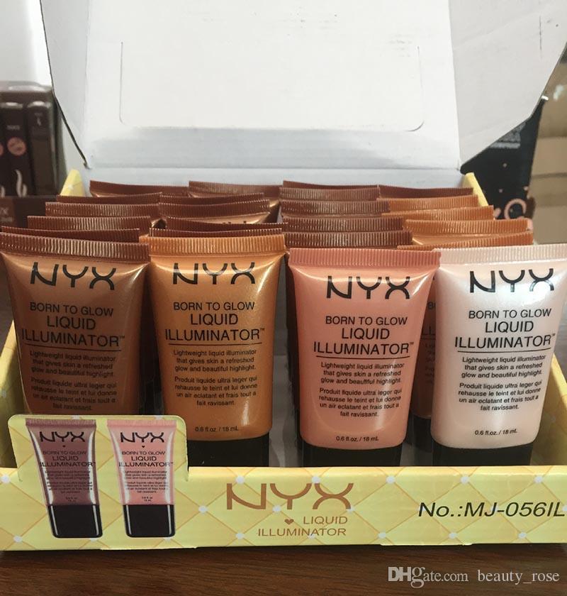 NYX Liquid Foundation Maquillaje Corrector Facial Born To Glow Iluminador Líquido BB Cream Make Up Powder Cosméticos Cuidado de la Piel 18ml Sin DHL