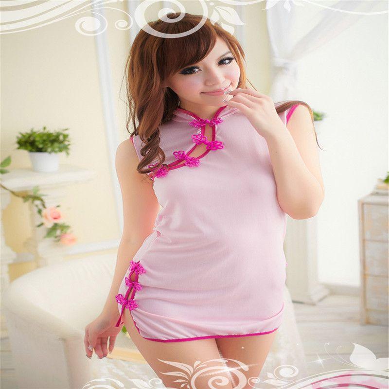 Sexy lingerie pink satin cheongsam backless game uniform high collar sleeveless short dress adult sex toys