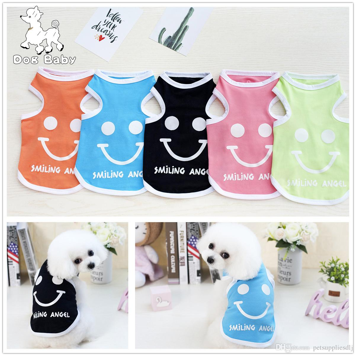 E15 New design Summer Spring Puppy Dog Vest Cute Smile Face Pet Dog Cat Vest T-Shirt Clothes for Chihuahua Yorki Apparel