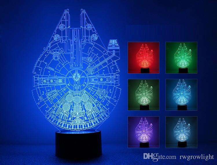 Acrílico cambio de 7 colores LED USB lámpara de mesa regalos 3D de la novedad de Lotus 3D Visual lámpara de decoración para el hogar