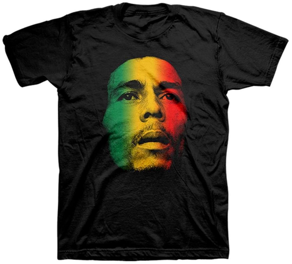 Coton pour hommes Vêtements pour hommes Slim Fit T-shirt Visage de Bob Marley Rasta Tri-couleur T-shirt adulte noir pour homme