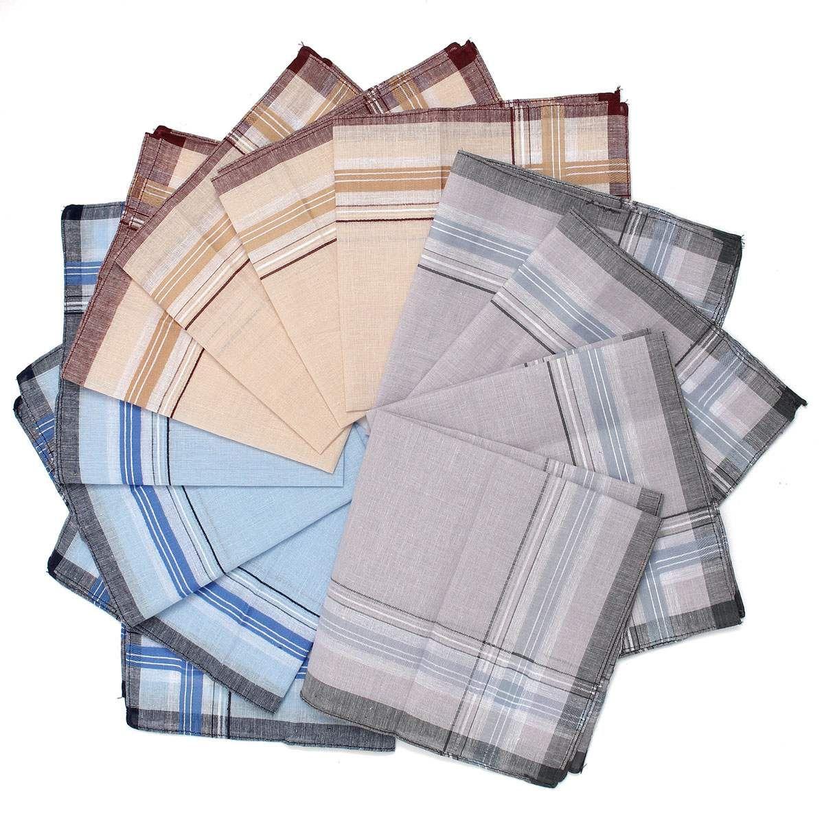 12pcs /Lot Men Plaid Square Handkerchiefs ,36x36cm Cotton Soft Vintage Men 'S Business Suit Pockets Handkerchief Male Grid Hanky