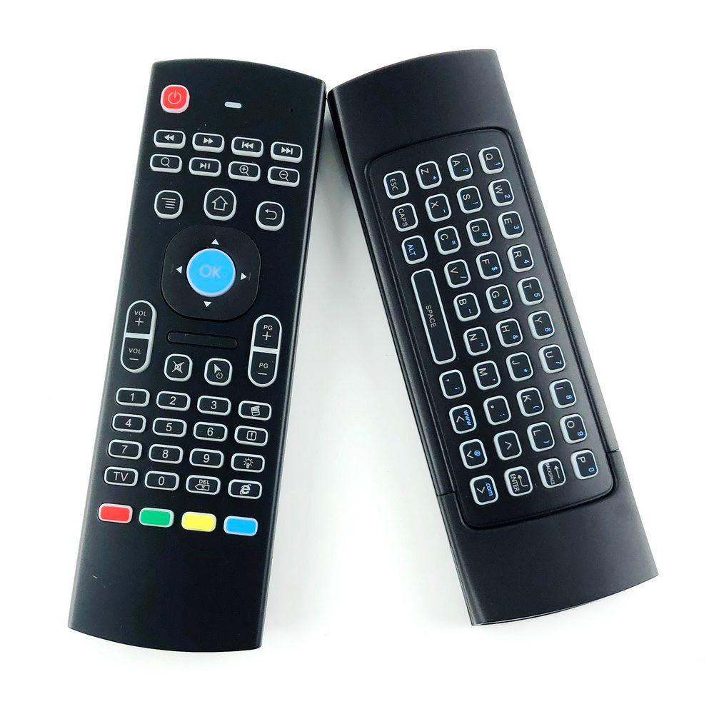 X8 Retroilluminazione MX3 Mini tastiera con apprendimento IR Qwerty 2.4G Telecomando wireless 6Axis Fly Air Mouse retroilluminato Gampad per Android TV Box i8