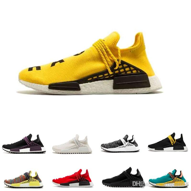 2019 Human RACE HU NMD Women Casual Trainers Shoe Yellow Mens Designer Sports Running Shoes Pharrell Williams Trail For Men Sneakers White Running
