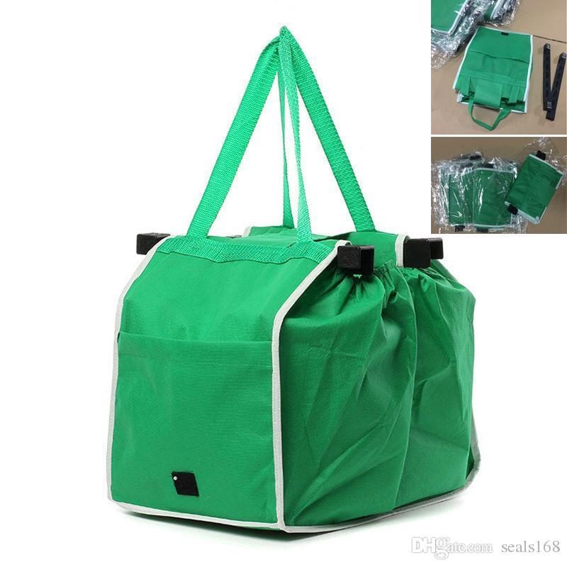 Saco de compras Clip-to-Cart Saco de Compras Tote Dobrável Eco-friendly Reutilizável Grande Trolley Supermercado Sacos de Grande Capacidade HH7-1226