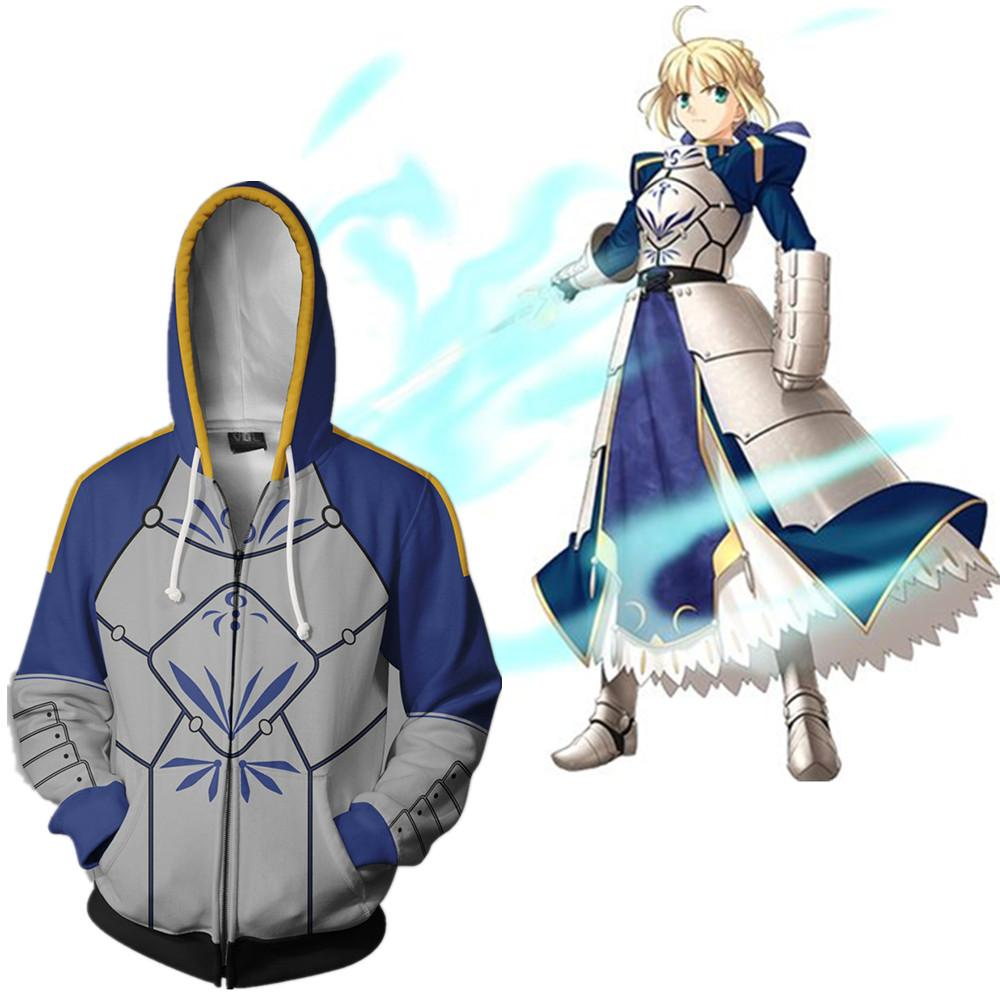 Asya Boyut Japonya Anime Fate Stay Night Altria Pendragon Cosplay 3D Kostüm Casual Unisex Uzun Kollu Ceket Fermuar Ceket Hoodie