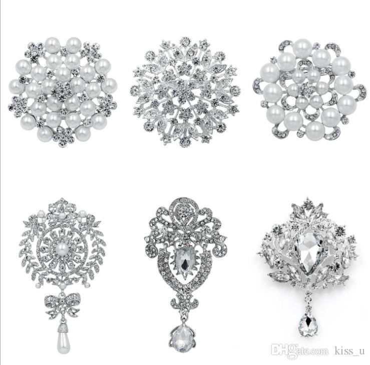 6pcs/set Fashion Women Large Brooches Lady Imitation Pearls Rhinestones Crystal Wedding Brooch Pin Jewelry Accessorise