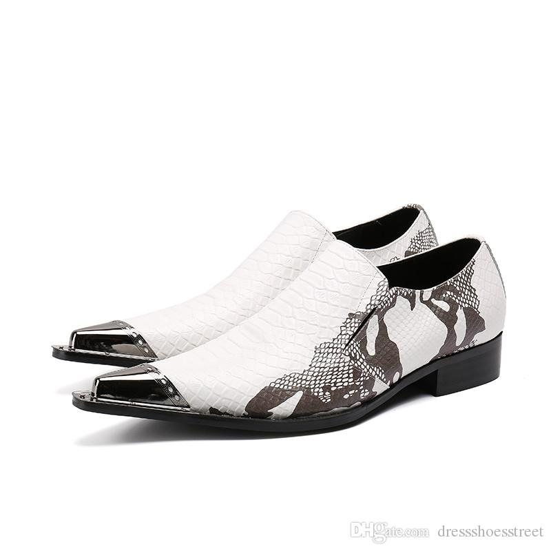 Мода Печати Мужчины Формальная Обувь Белый Натуральная Кожа Металл Острым Носом Платье Обувь Бизнес Партия Обувь