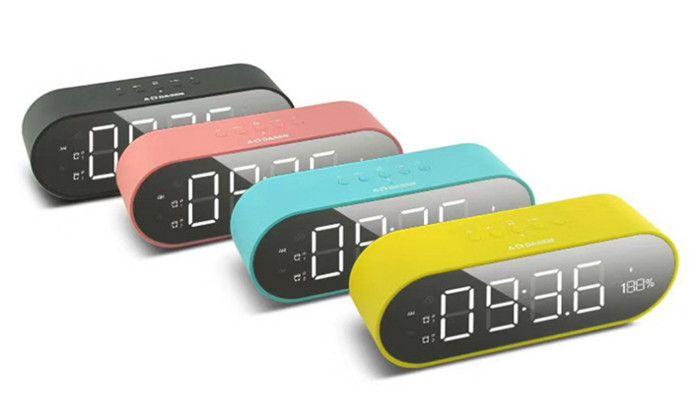 2018 Popular bluetooth speaker mini outdoor portable dual speaker wireless bluetooth speaker large screen with clock alarm radio