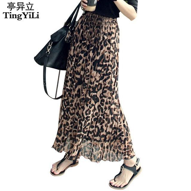 TingyiLi Verão Mulheres Saia Longa Estampa de Leopardo Elástico de Cintura Alta Chiffon Plissado Slim Fit Saia Ocasional Maxi