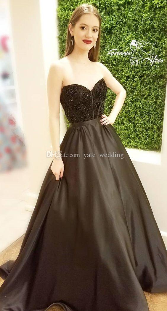 2018 sweetheart black beaded evening dress prom ball formal party dress gown