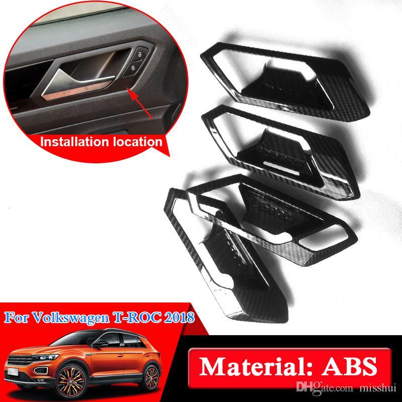 Araba tasarım ABS Krom Volkswagen T-ROC 2018 Araba İç Kapı Kolu Çerçeve Iç Kapı Kase Sequins Kapak Oto Aksesuarları
